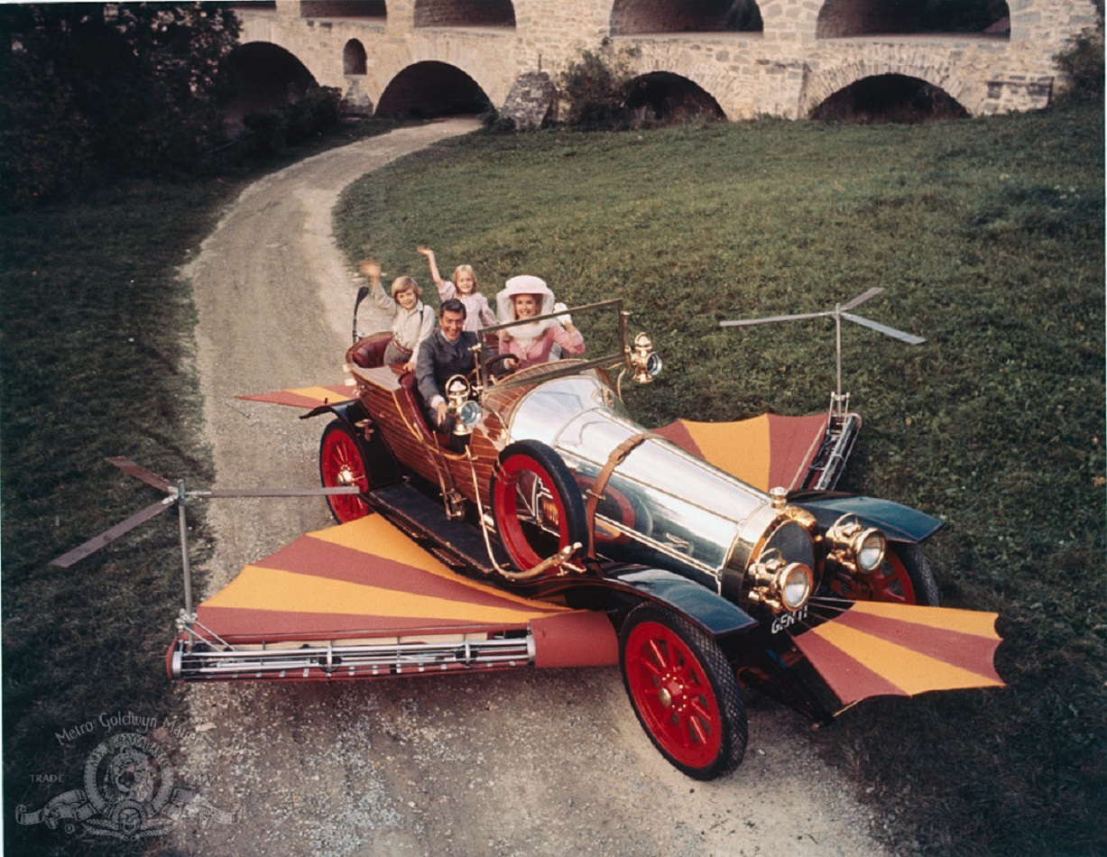 Preparing to take flight in the car - Dick Van Dyke and Sally Ann Howes; Adrian Hall and Heather Ripley in Chitty Chitty Bang Bang (1968)