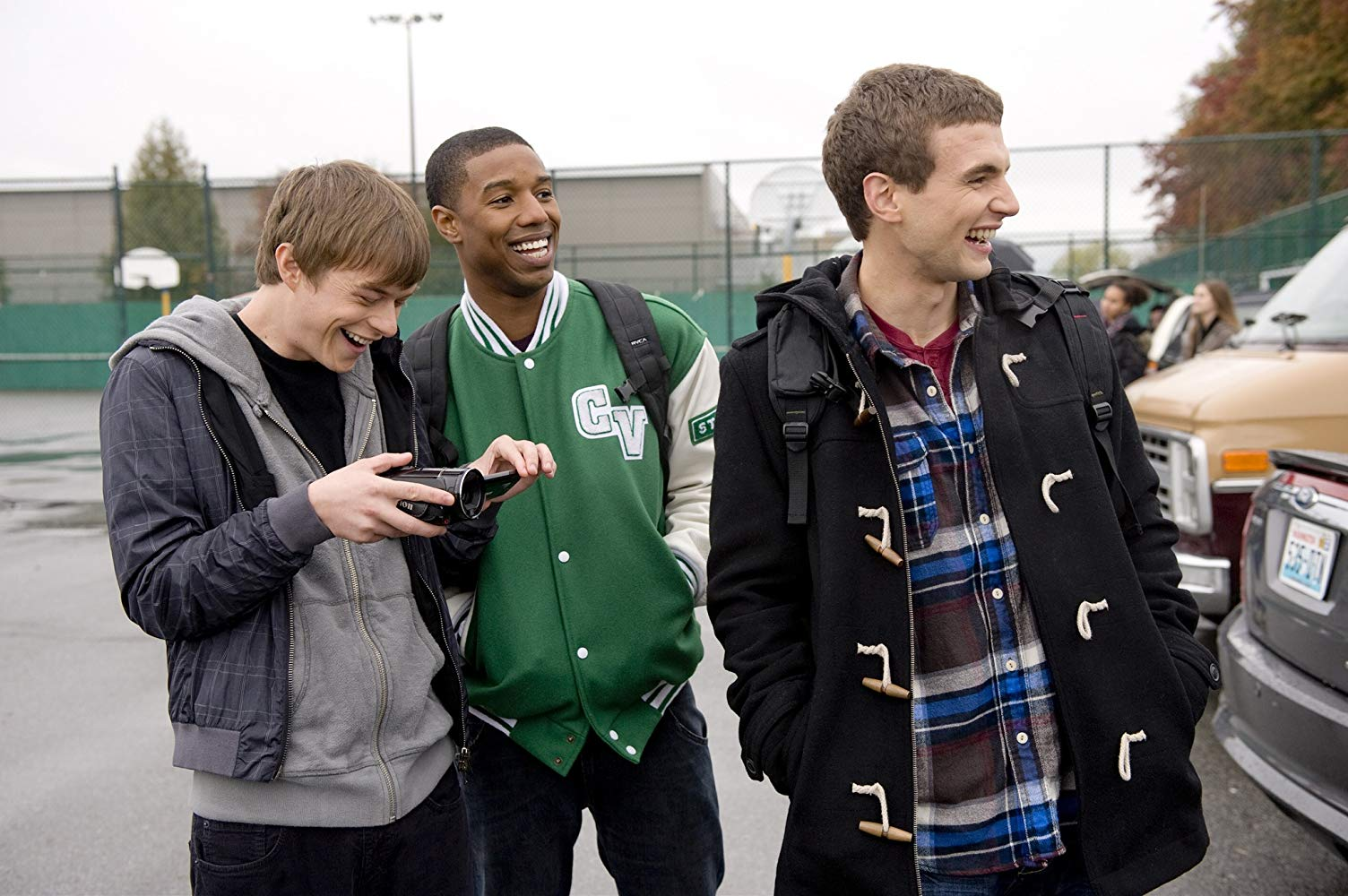 Three teens with a video camera - (l to r) Dane DeHaan, Michael B. Jordan and Alex Russell in Chronicle (2012)