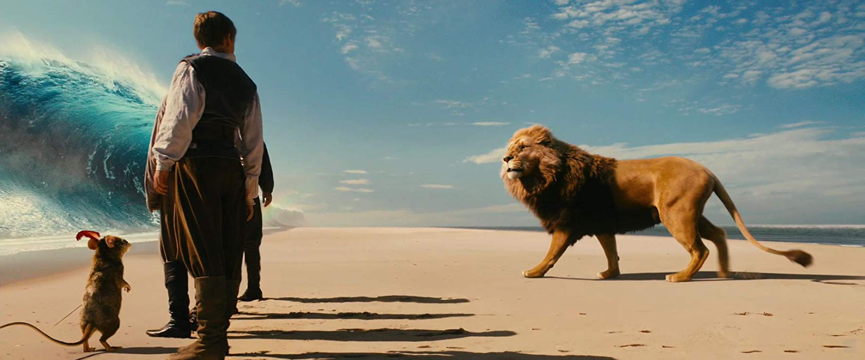 (l to r) Reepicheep, Eustace (Will Poulter) (back to camera) and Aslan in The Chronicles of Narnia: The Voyage of the Dawn Treader (2010)