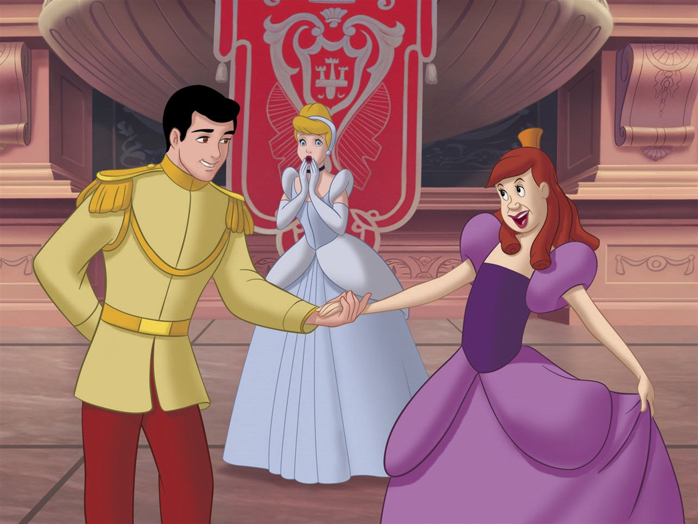 Cinderella (c) looks on in the alternate reality where Prince Charming falls for Anastasia in Cinderella III: A Twist in Time (2007)