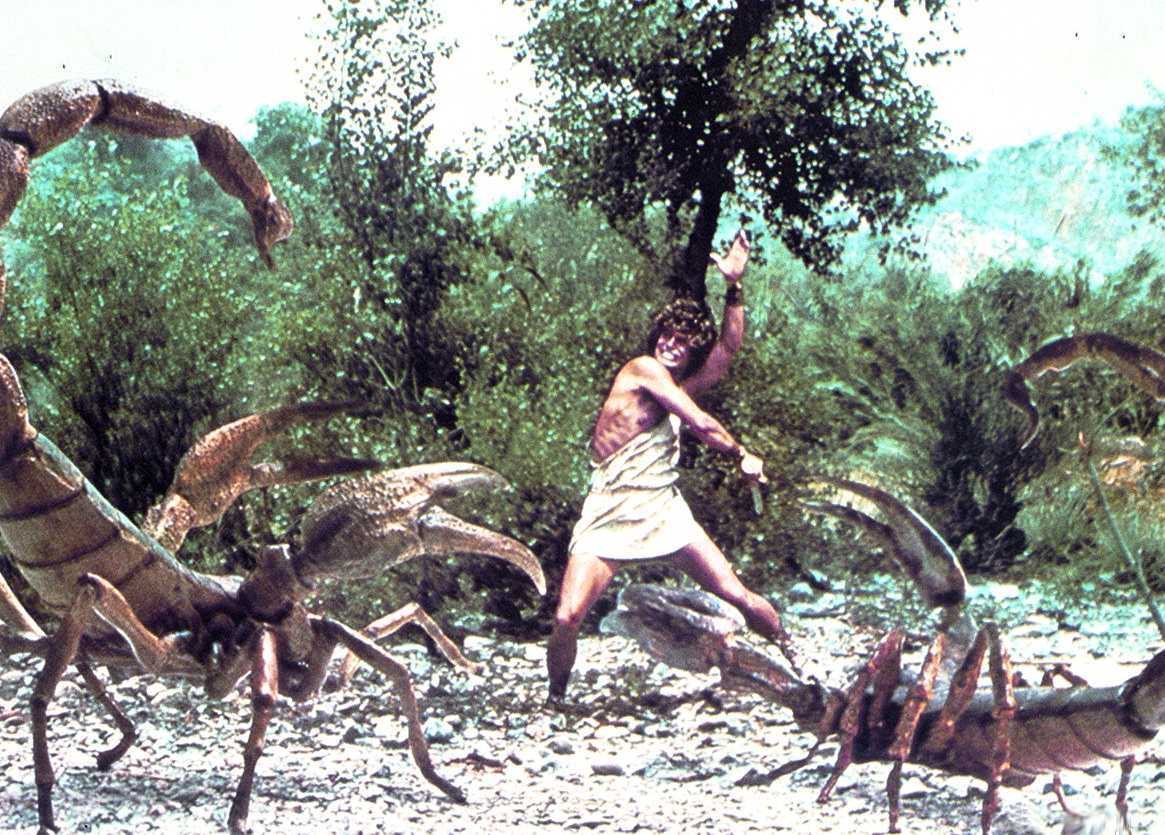 Perseus (Harry Hamlin) against the giant scorpions in Clash of the Titans (1981)