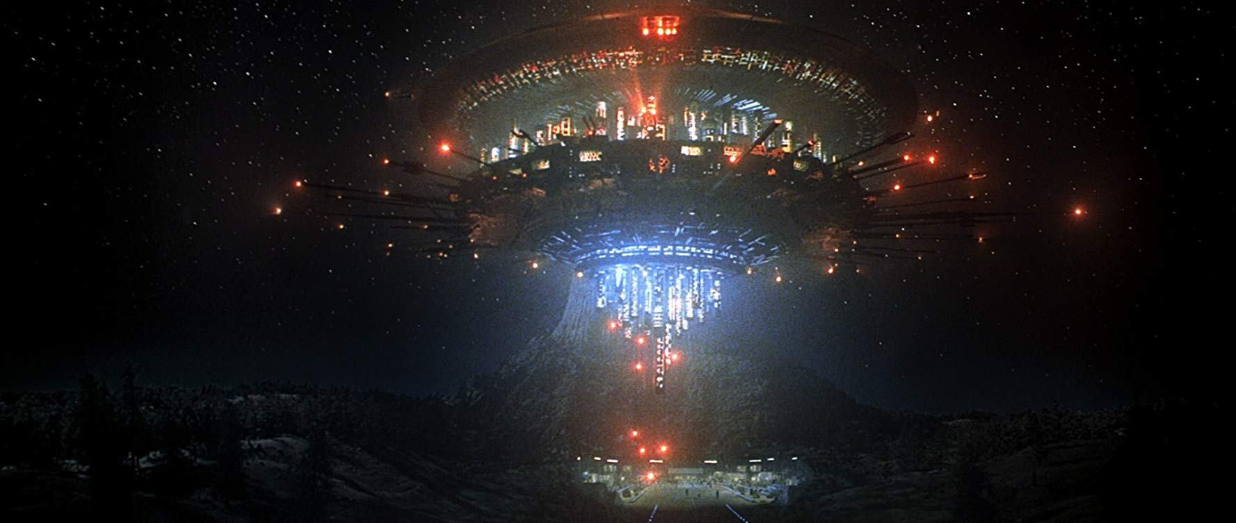 The appearance of the alien mothership over Devil's Tower in Close Encounters of the Third Kind (1977)