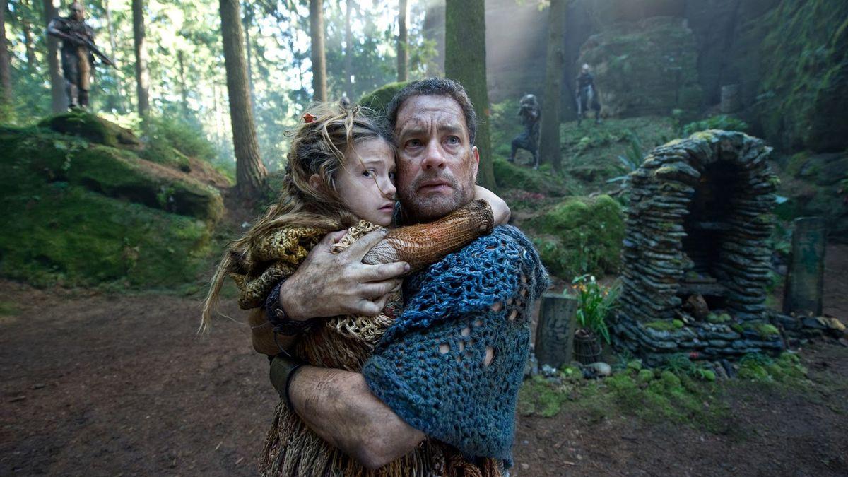 Zachry Bailey (Tom Hanks) and young Raevan Lee Hanan in Cloud Atlas (2012)