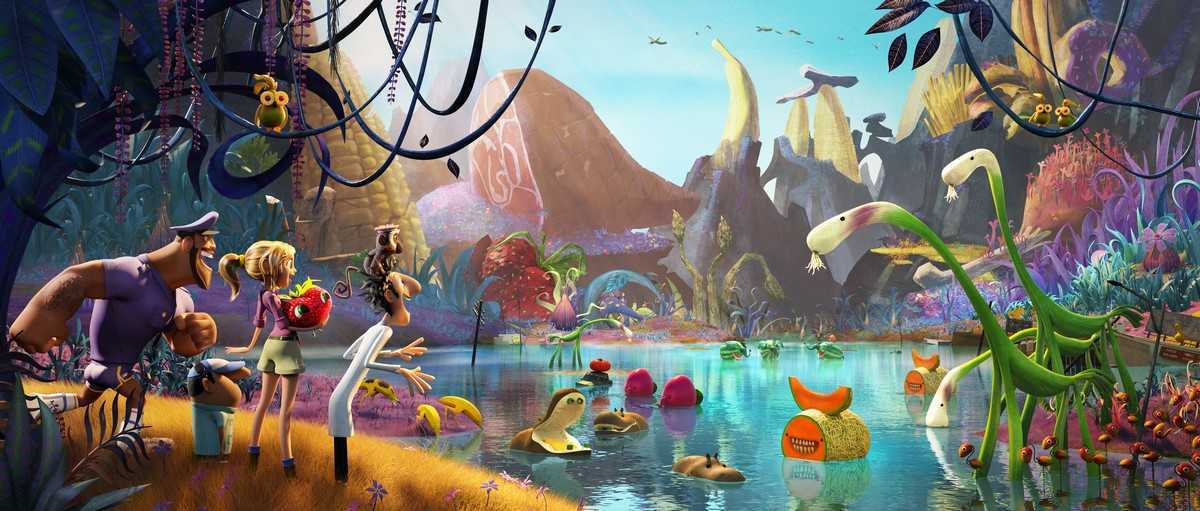 Earl Devereaux, Manny  the cameraman, Sam Sparks, Barry the strawberry, Flint Lockwood and Steve the monkey observe an island of living food in Cloudy With a Chance of Meatballs 2 (2013)