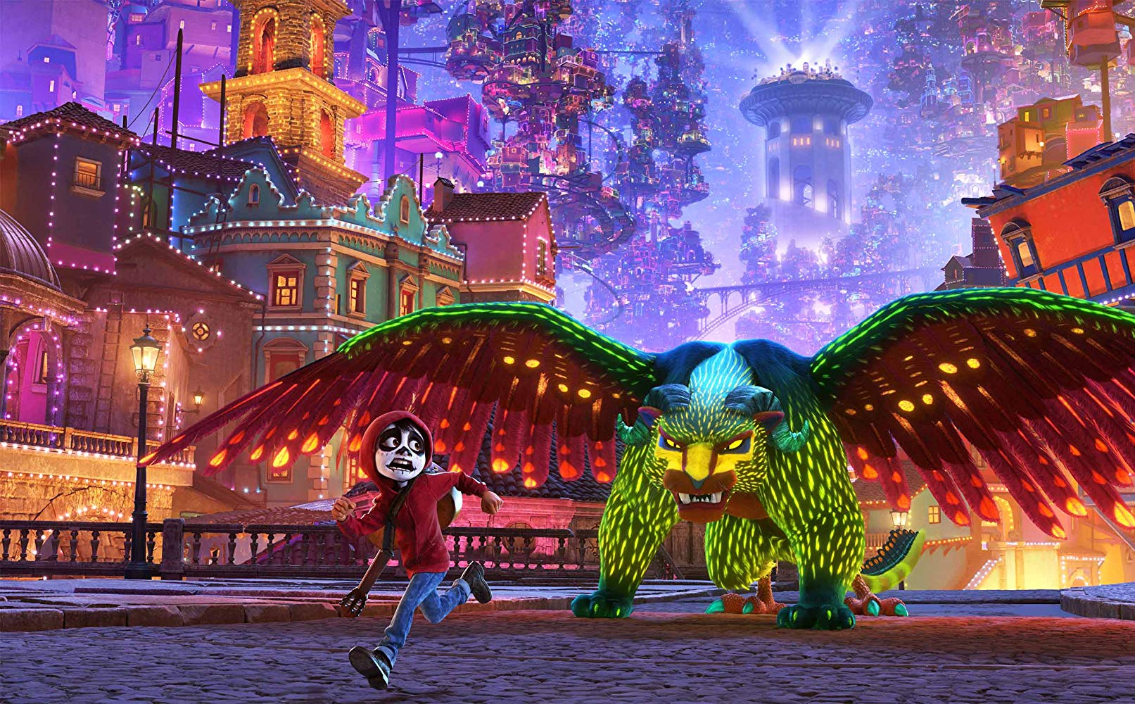 Miguel pursued through the afterlife by an alebrije in Coco (2017)
