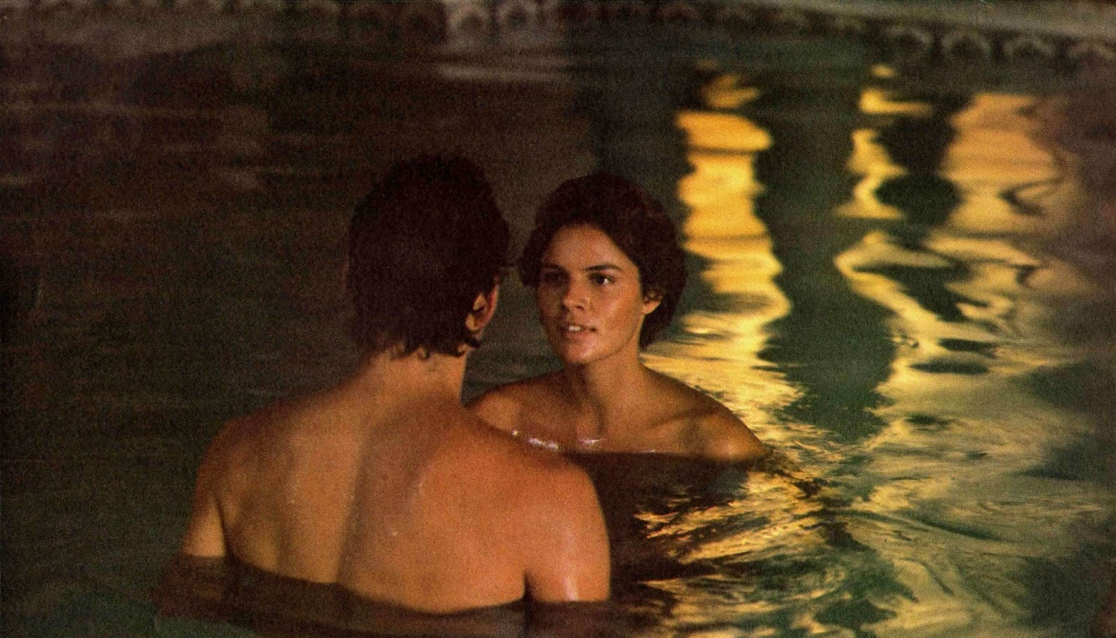 Tahnee Welch about to reveal her true alien self to Steve Guttenberg in the pool in Cocoon (1985)