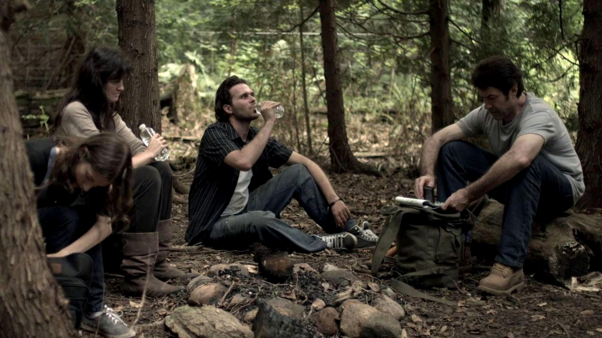 Family on a journey through the woods - (l to r) daughter Anna Ross, mother Lisa Moule, son Steve Vieira and father John Fantasia in The Collapsed (2011)