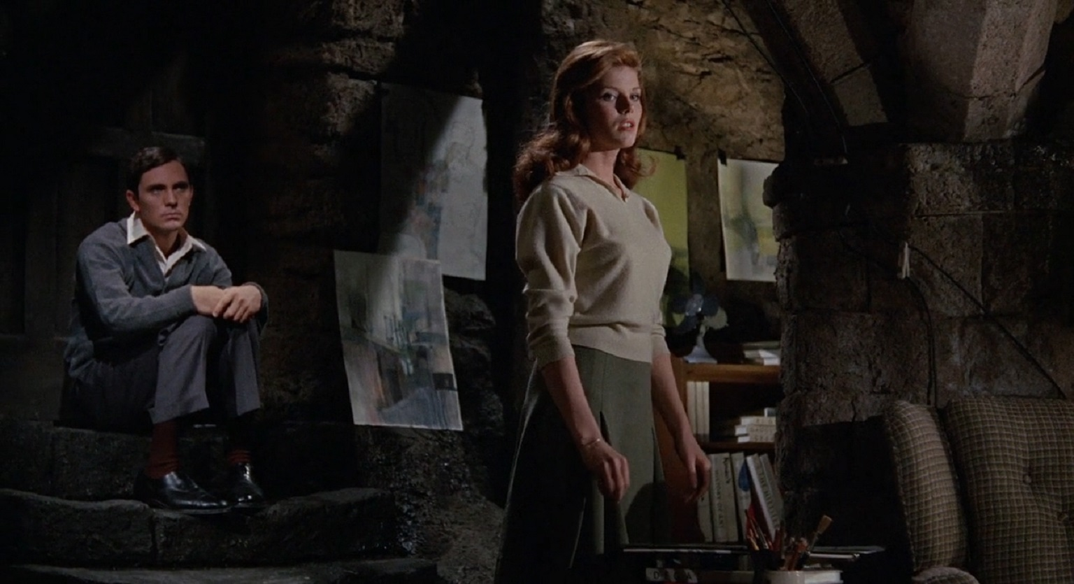 Terence Stamp with his prisoner Samantha Eggar in The Collector (1965)