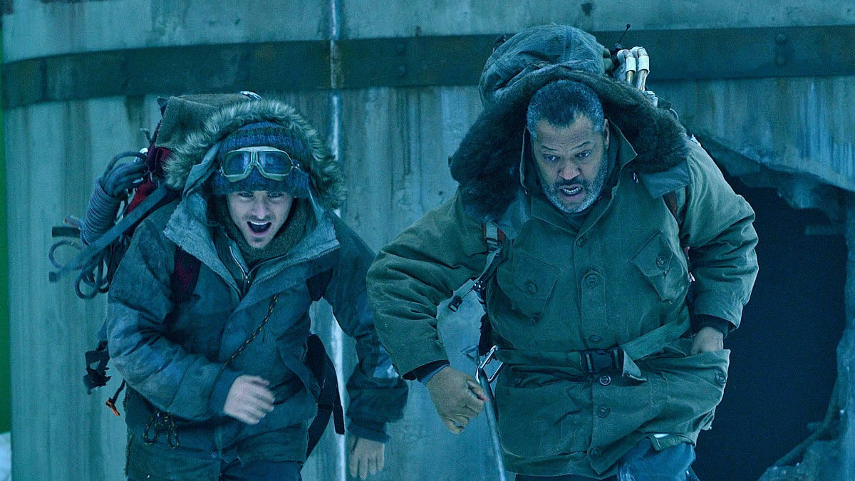 Kevin Zegers and Laurence Fishburne in a frozen future in The Colony (2013)