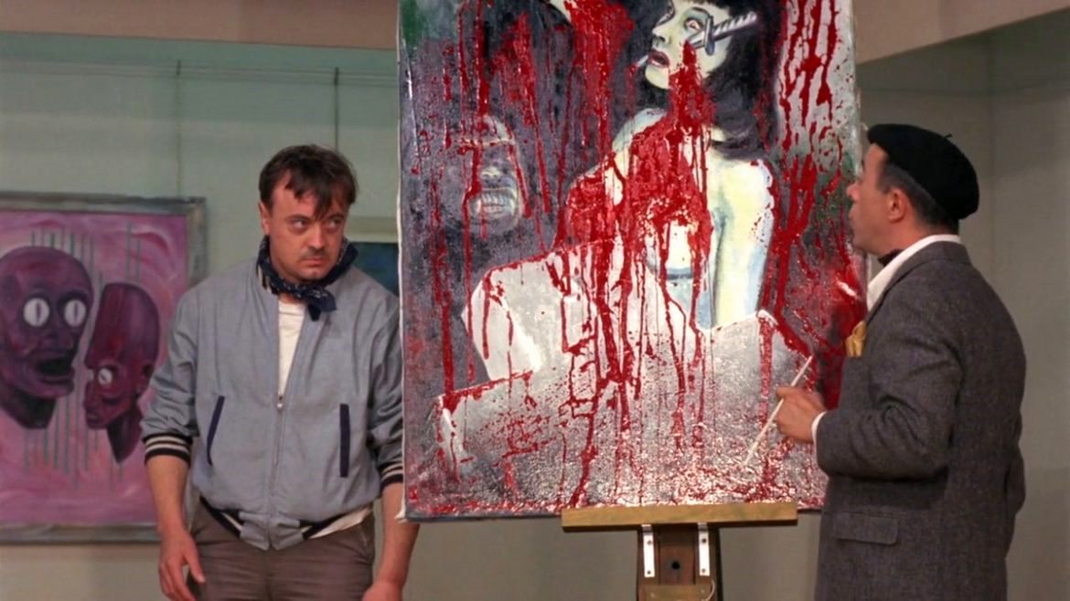 Adam Sorg (Don Joseph) stands by one of his paintings in front of rival artist Scott H. Hall in Color Me Blood Red (1965)