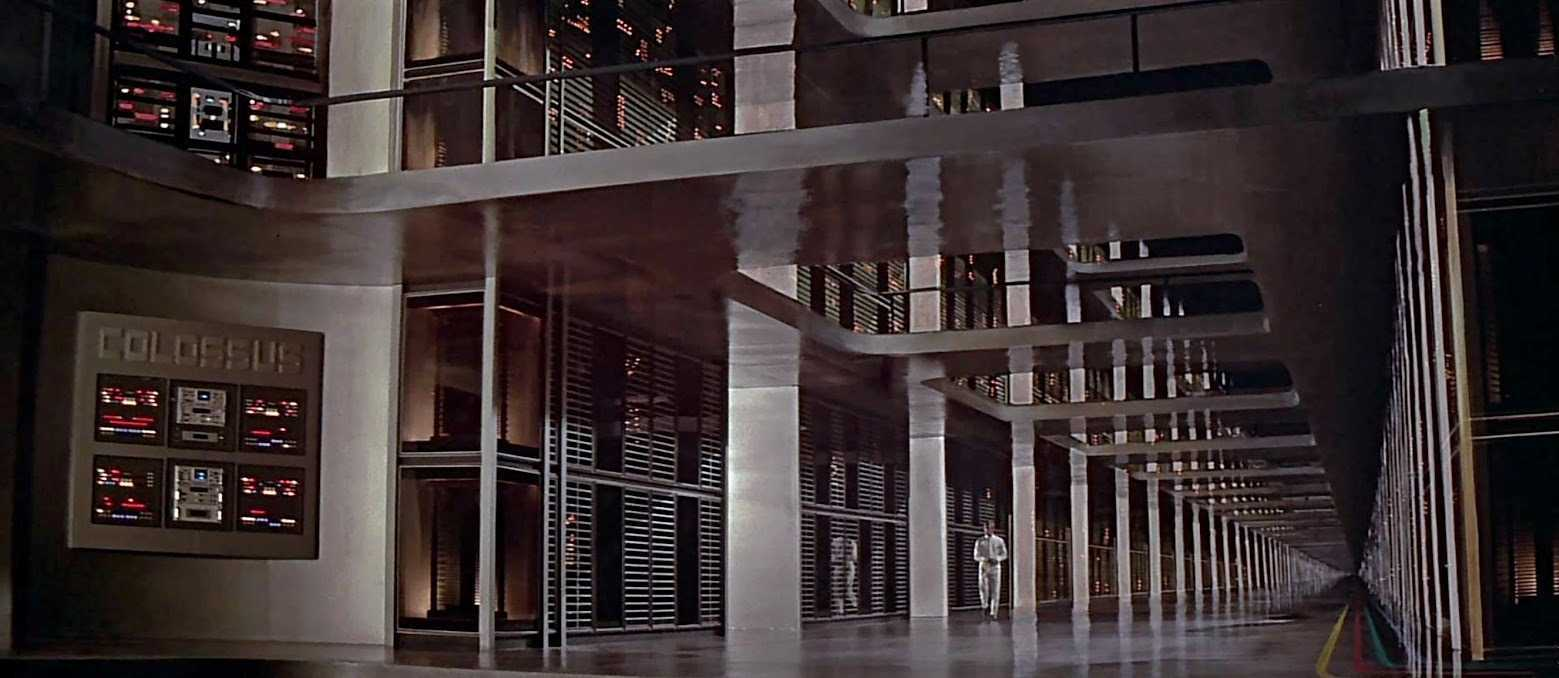 Charles Forbin (Eric Braeden) walks through the interior of the super-computer Colossus in Colossus: The Forbin Project (1969)