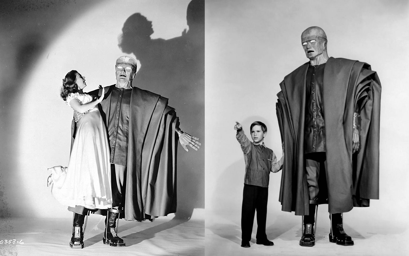 The Colossus abducts Mala Powers; The Colossus befriends young Billy (Charles Herbert)The Colossus abducts Mala Powers; The Colossus befriends young Billy (Charles Herbert) in The Colossus of New York (1958)