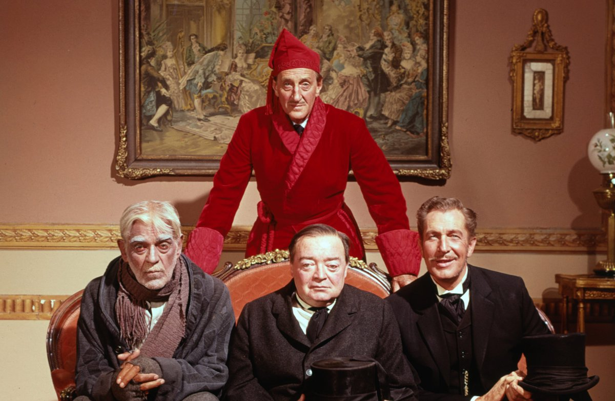 Murderous morticians - (l to r) Boris Karloff, Peter Lorre, and Vincent Price with Basil Rathbone (rear) in The Comedy of Terrors (1963)