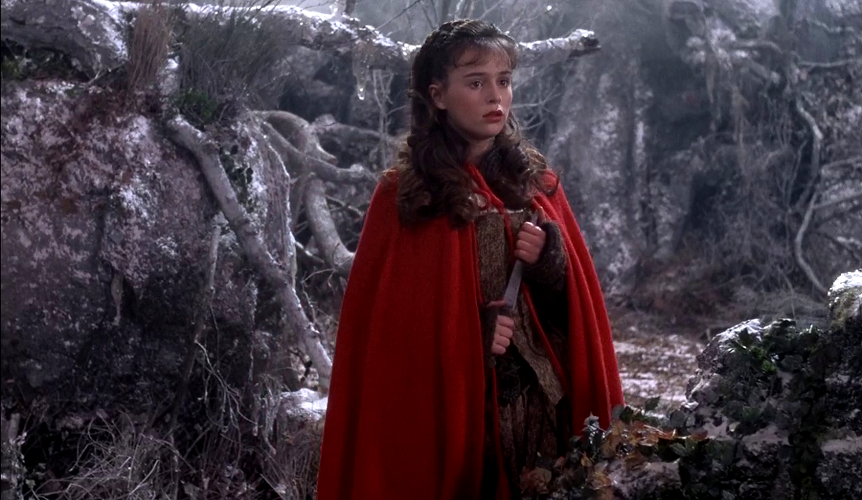 Sarah Patterson as Rosaleen, the equivalent of Little Red Riding Hood in The Company of Wolves (1984)