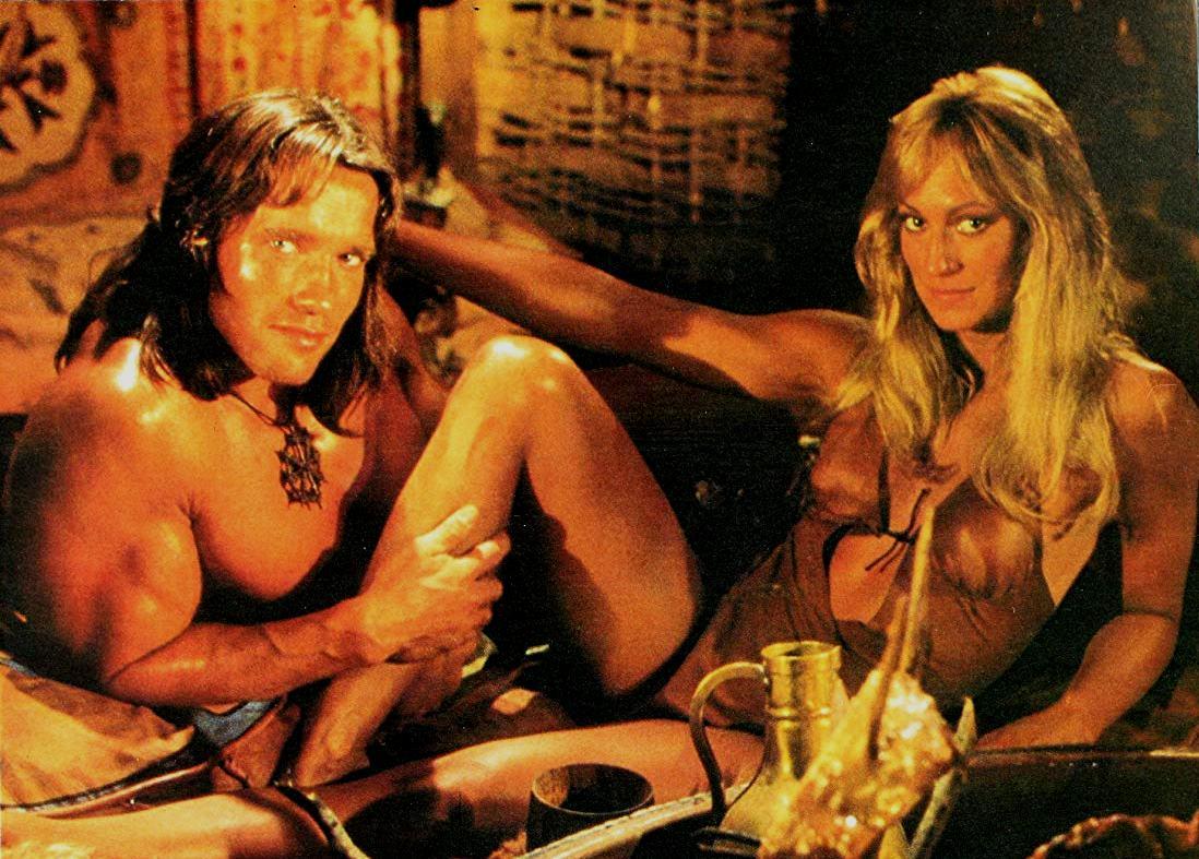 Conan (Arnold Schwarzenegger) and Valeria (Sandahl Bergman) in Conan the Barbarian (1982)