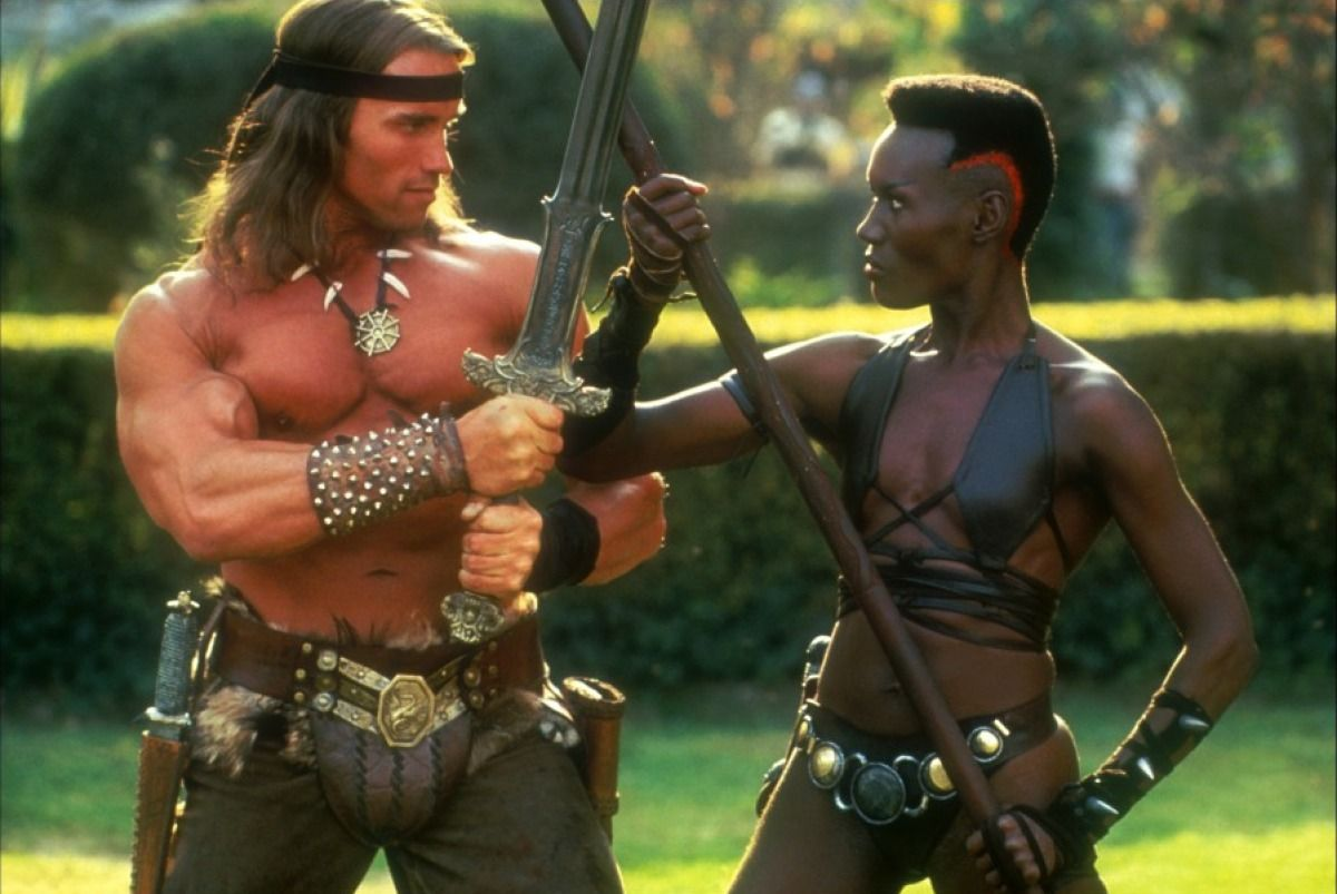 Conan (Arnold Schwarzenegger) and Zula (Grace Jones) in Conan the Destroyer (1984)
