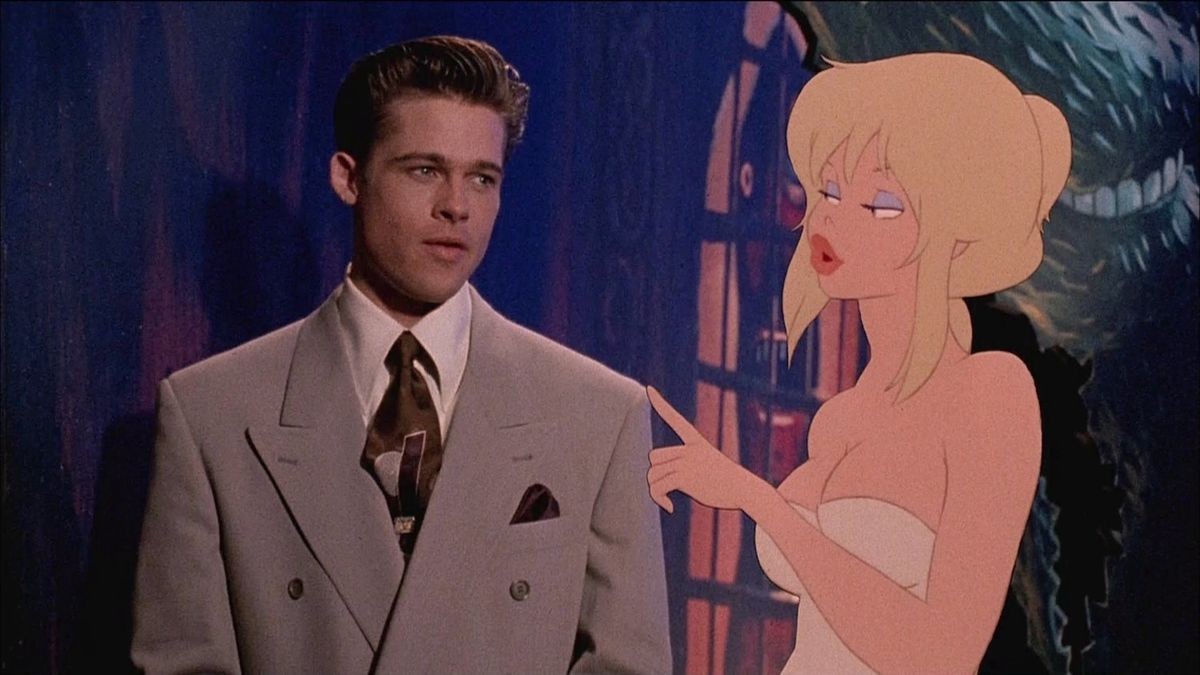 Detective Frank Harris (Brad Pitt) and Holli Would (voiced by Kim Basinger) in Cool World (1992)