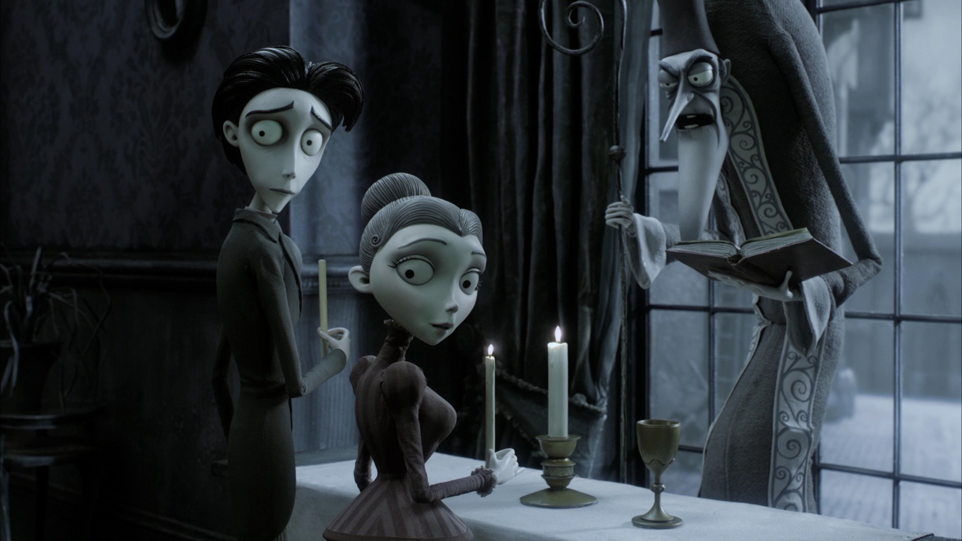 Victor Van Dort (voiced by Johnny Depp) prepares to marry his regular human bride Victoria Everglot (voiced by Emily Watson) in Corpse Bride (2005)