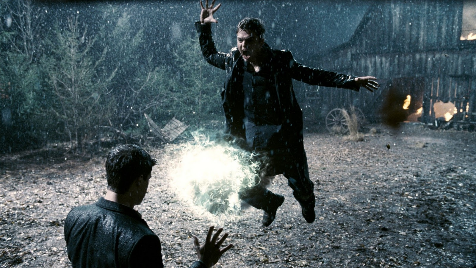 Magical combat between (l to r) Steve Strait and Sebastian Stan in The Covenant (2006)