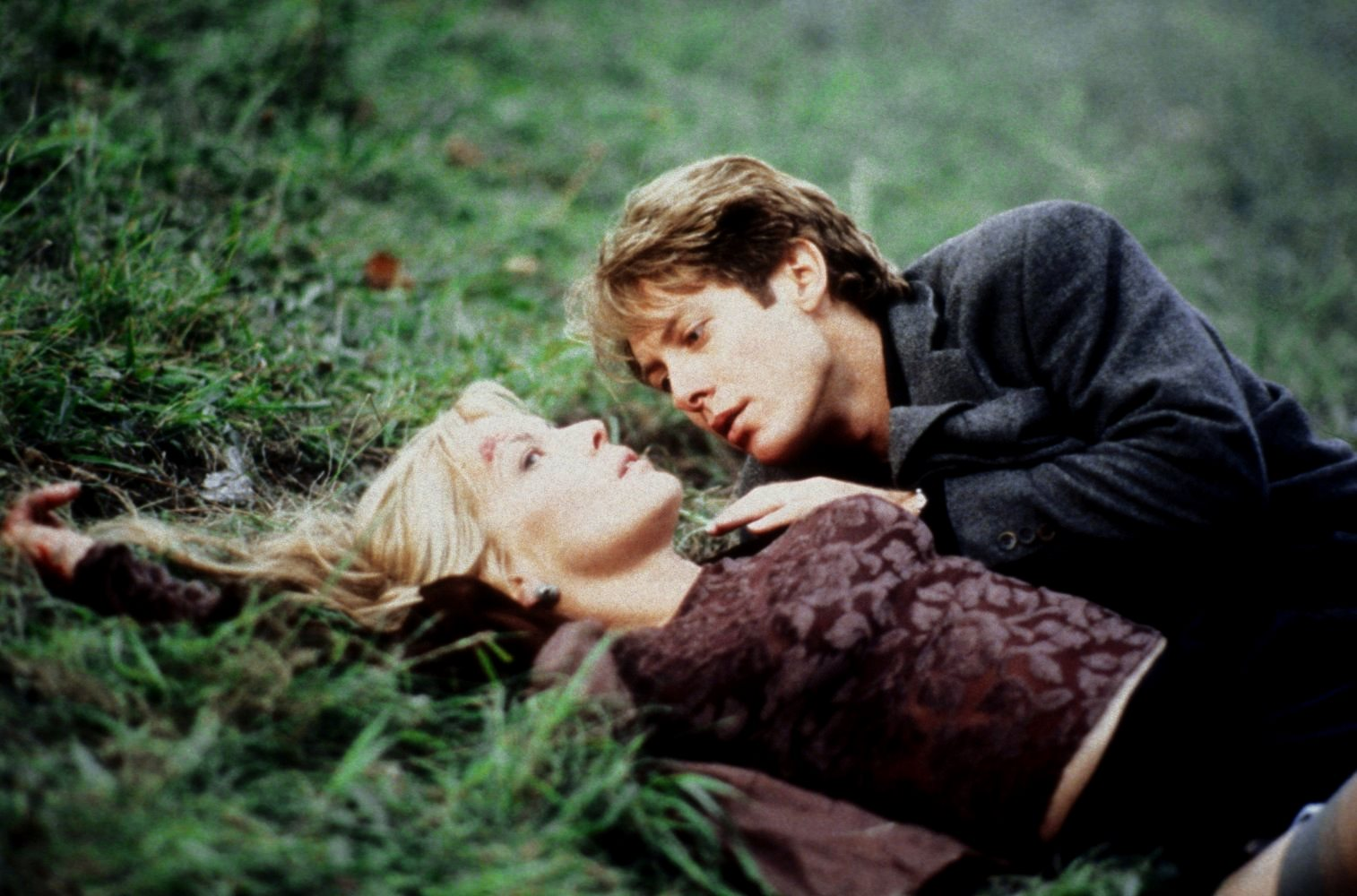 James Spader and Deborah Kara Unger have sex on the side of the road after a car crash in Crash (1996)
