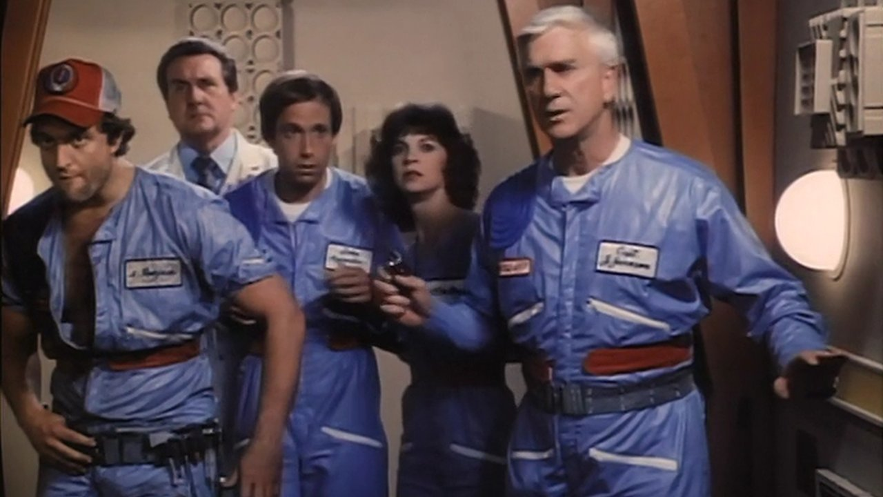 The crew of Gerrit Graham, Patrick MacNee, Bruce Kimmel, Cindy Williams and Leslie Nielsen in The Creature Wasn't Nice (1981)