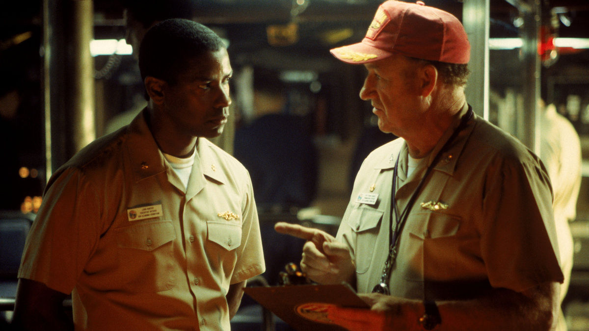 Lt-Col Ron Hunter (Denzel Washington) and Captain Frank Ramsey (Gene Hackman) in Crimson Tide (1995)
