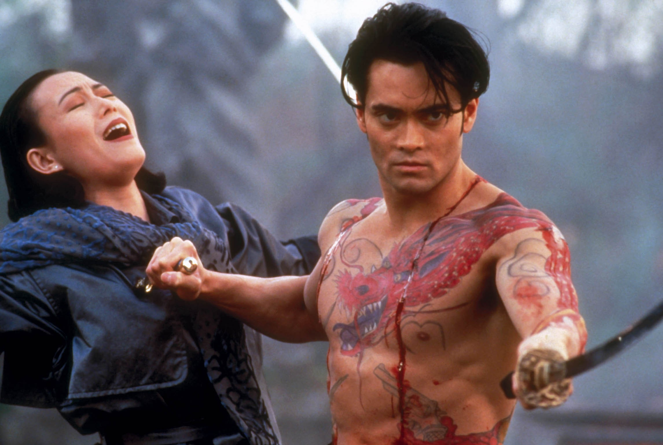 Mark Dacascos, Yoko Shimada in Crying Freeman (1995) poster