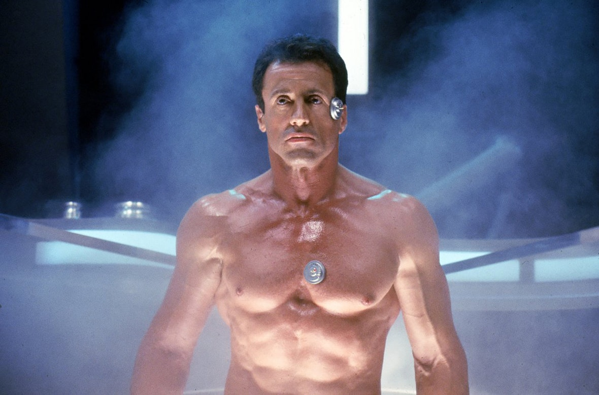 Sylvester Stallone unfrozen in the future in Demolition Man (1993)