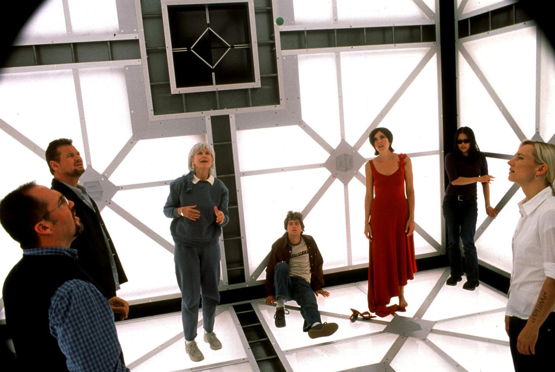 (l to r) Neil Crone, Geraint Wyn Davies, Barbara Gordon, Matthew Ferguson, Lindsey Connell, Grace Lynn Kung and Kari Matchett in Cube 2: Hypercube (2002)