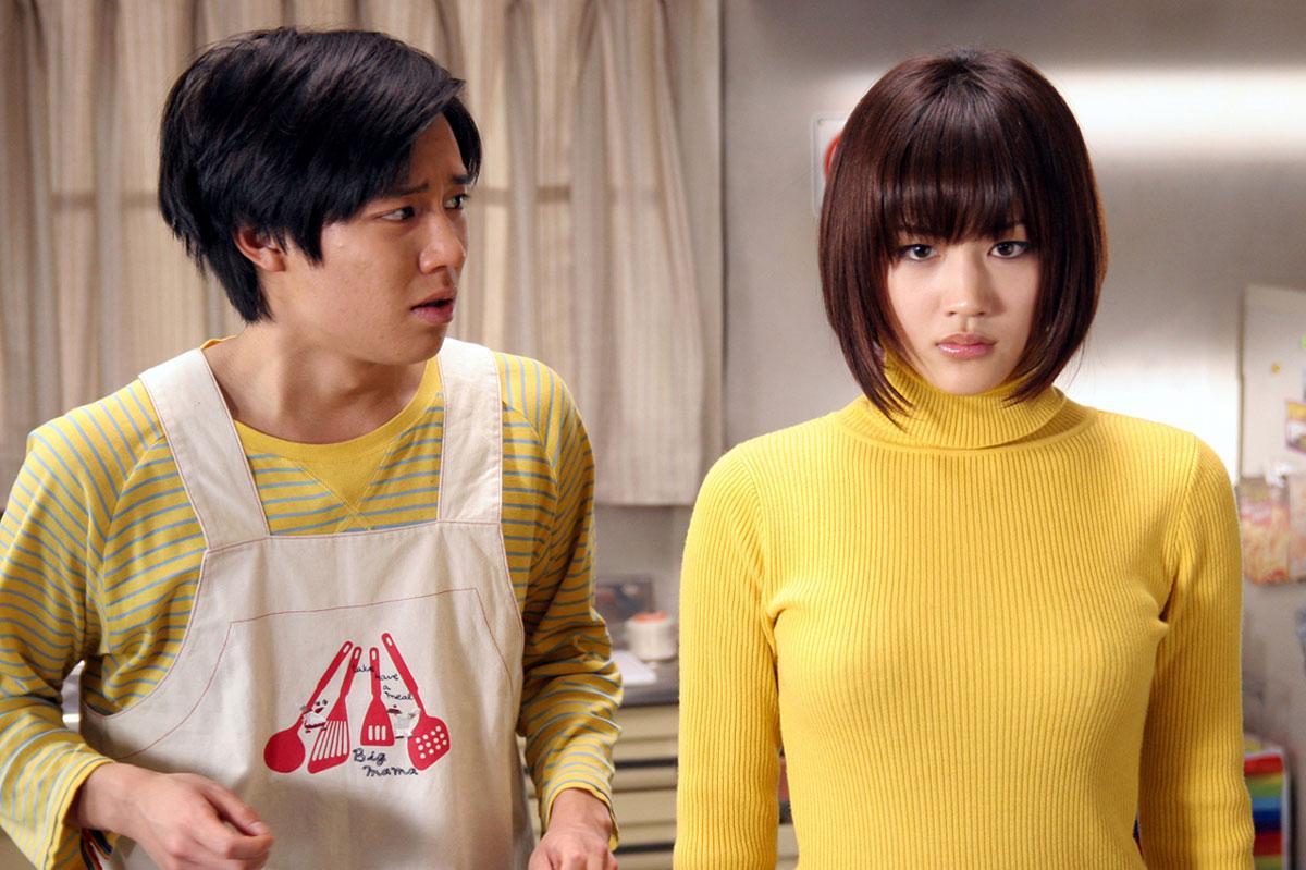 Nerdy Keisuke Koide with cyborg girl Haruka Ayase in Cyborg She (2007)