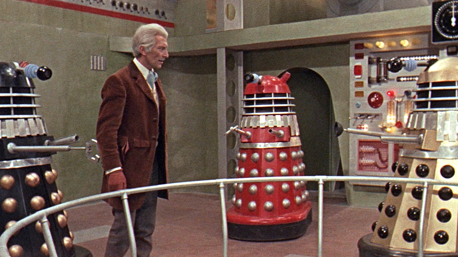 Doctor Who (Peter Cushing) and the Daleks in Daleks' Invasion 2150 A.D. (1966)