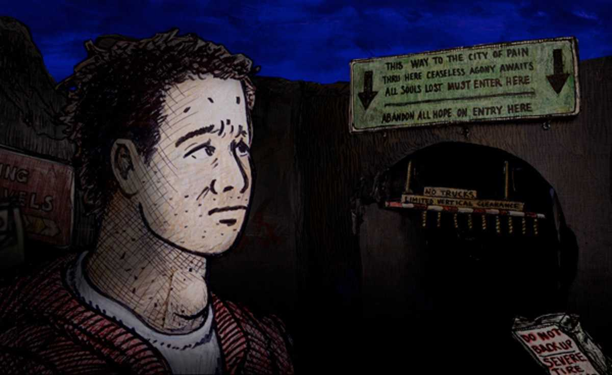 Dante Aligheri (voiced by Dermot Mulroney) at the entrance to Hell in Dante's Inferno (2007)
