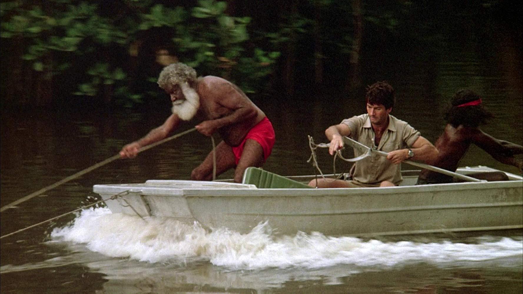 John Jarratt and the Aborigines go hunting the crocodile in Dark Age (1987)