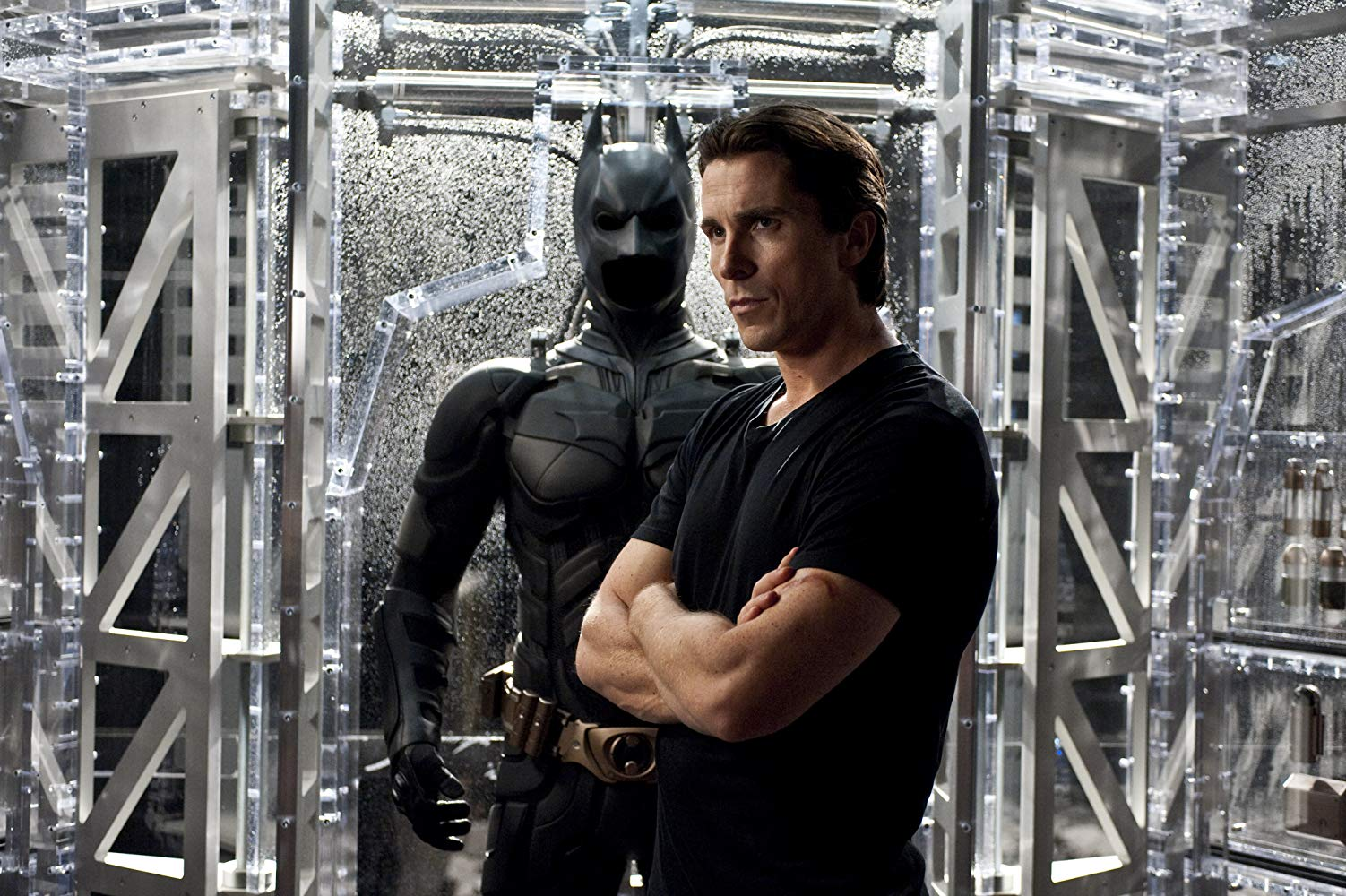 Christian Bale and Batman costume in The Dark Knight (2008)