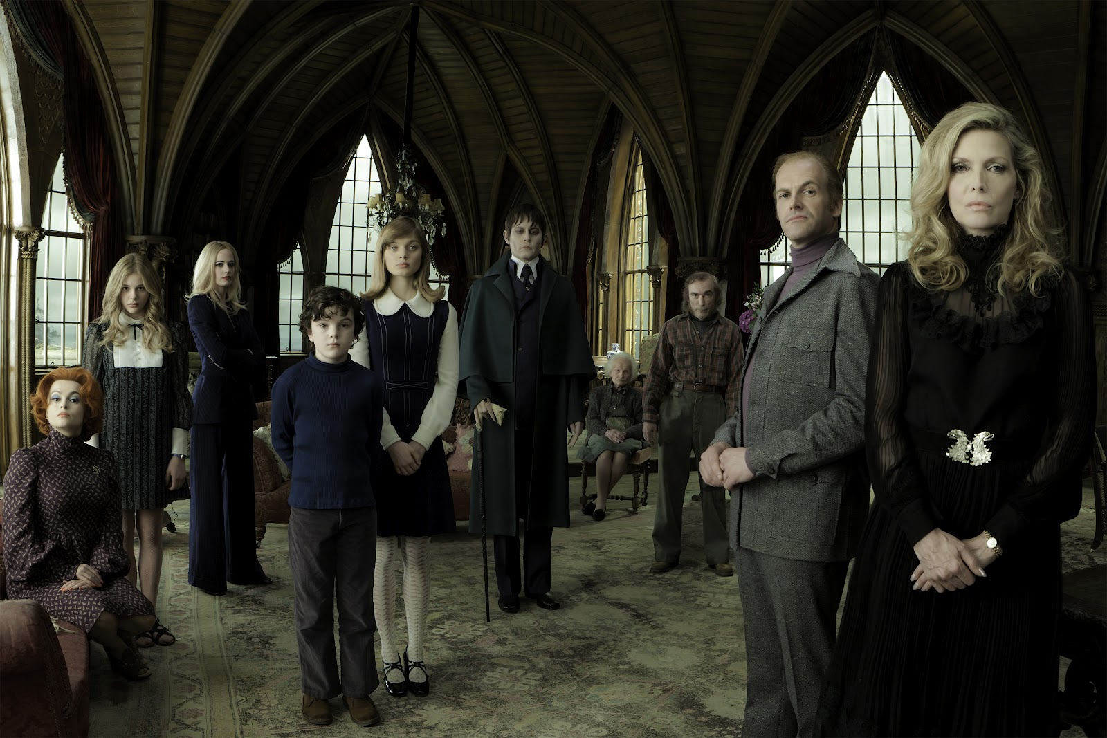 Helena Bonham Carter, Chloe Grace Moretz, Eva Green, Gulliver McGrath, Bella Heathcote, Johnny Depp, Ray Shirley, Jackie Earle Haley, Jonny Lee Miller, Michelle Pfeiffer in Dark Shadows (2012)