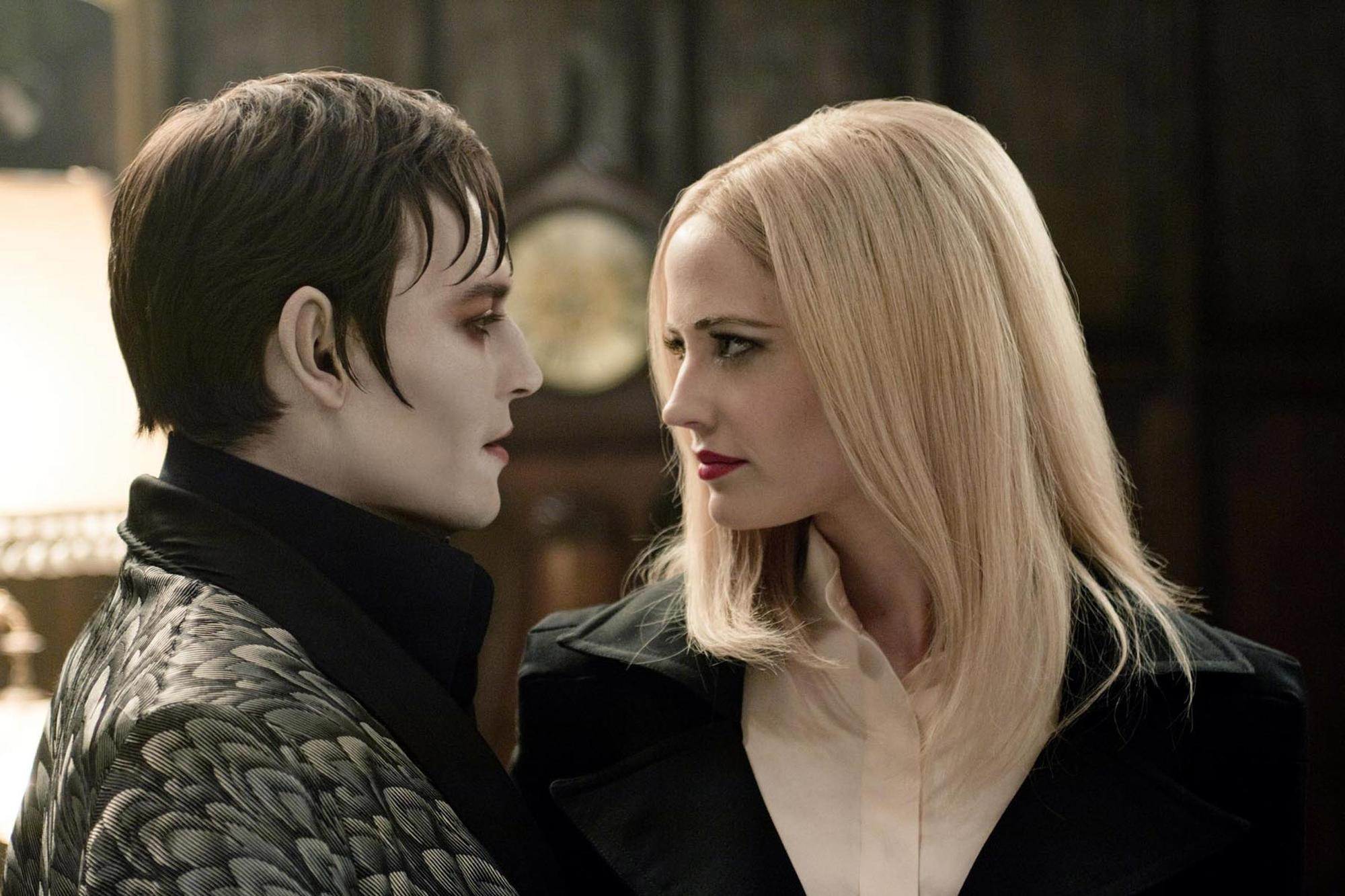 Barnabas Collins (Johnny Depp) and Angelique (Eva Green) in Dark Shadows (2012)