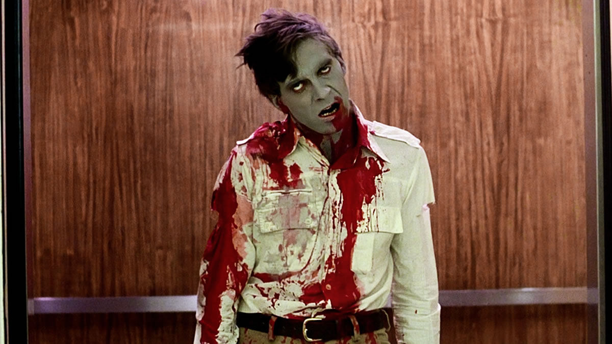 A zombified Scott H. Reiniger in Dawn of the Dead (1978)
