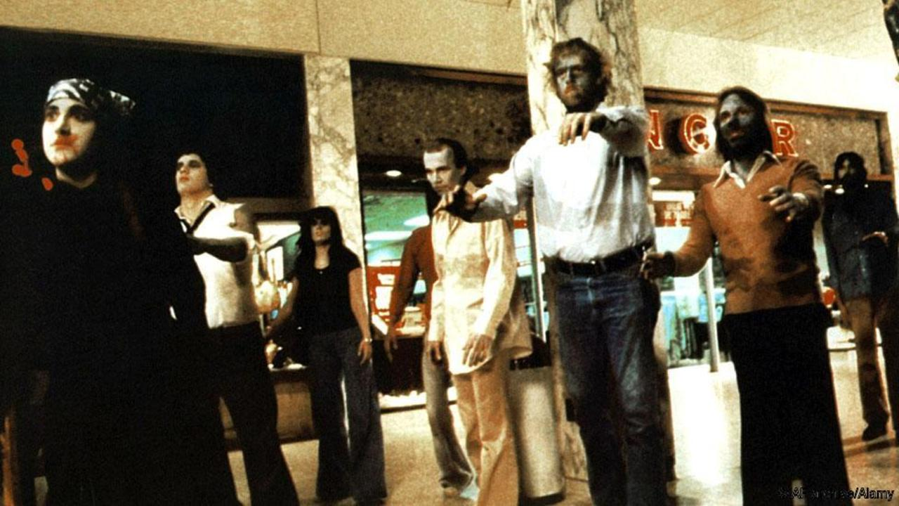 Zombies in a shopping mall in Dawn of the Dead (1978)