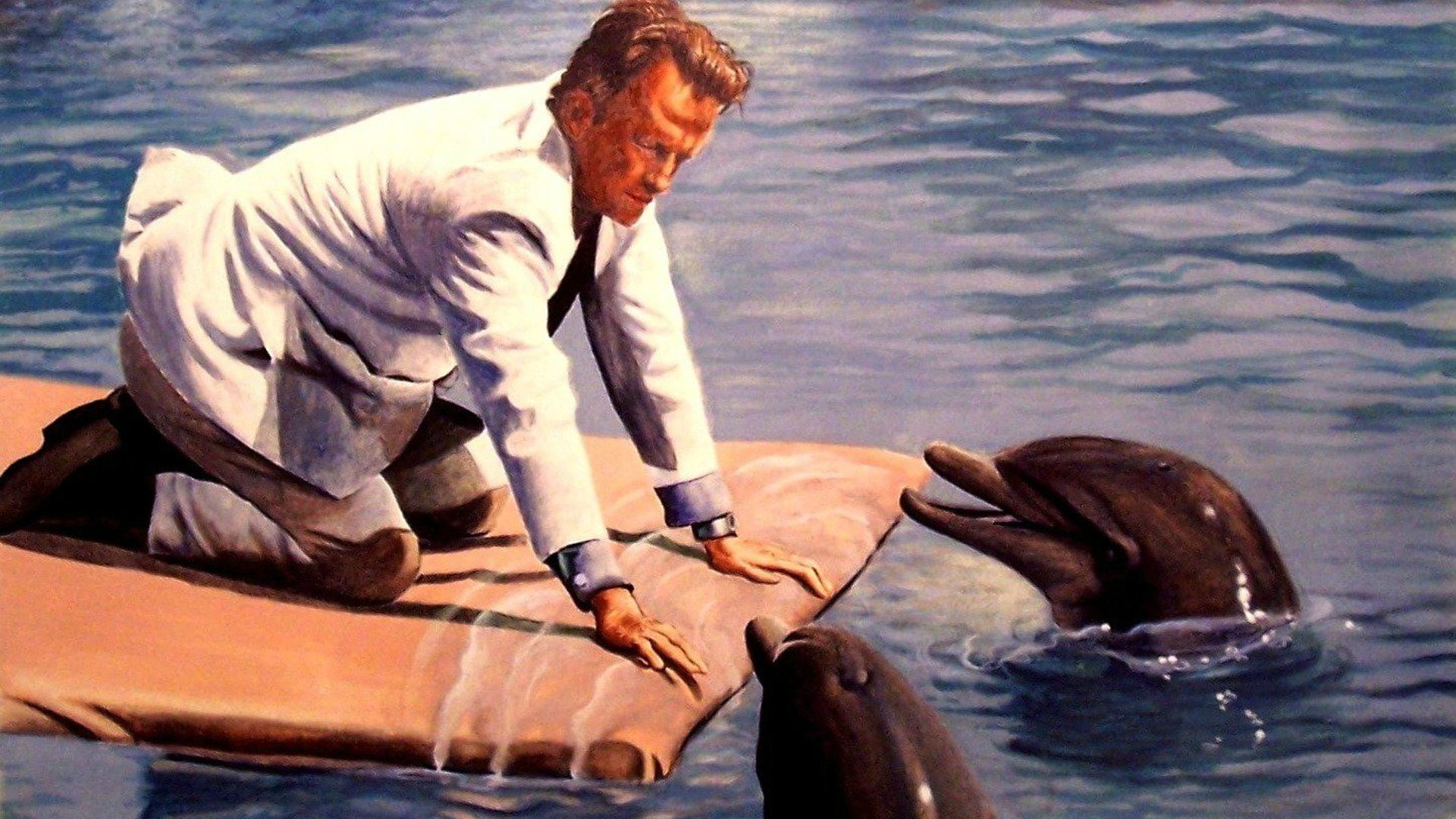 George C. Scott with talking dolphins in The Day of the Dolphin (1973)