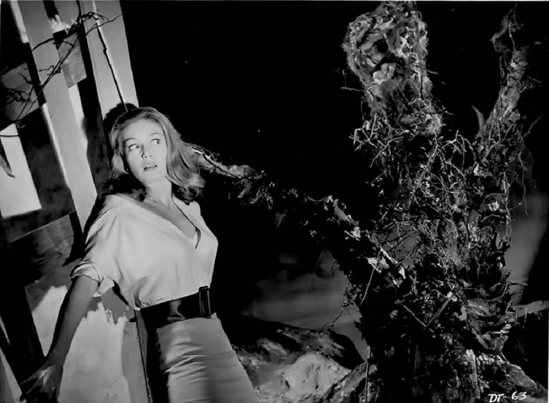 Janette Scott comes under attack by a triffid in The Day of the Triffids (1962)