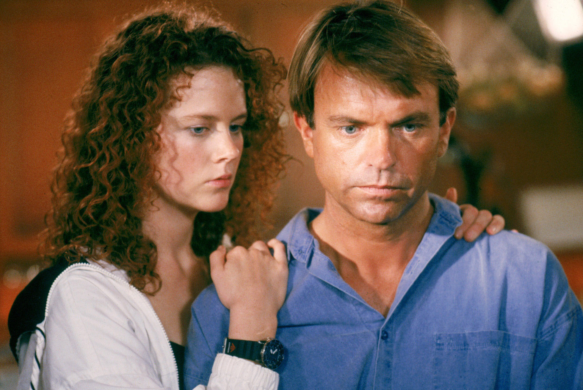 A 22 year-old Nicole Kidman (in her film debut) and husband Sam Neill in Dead Calm (1989)