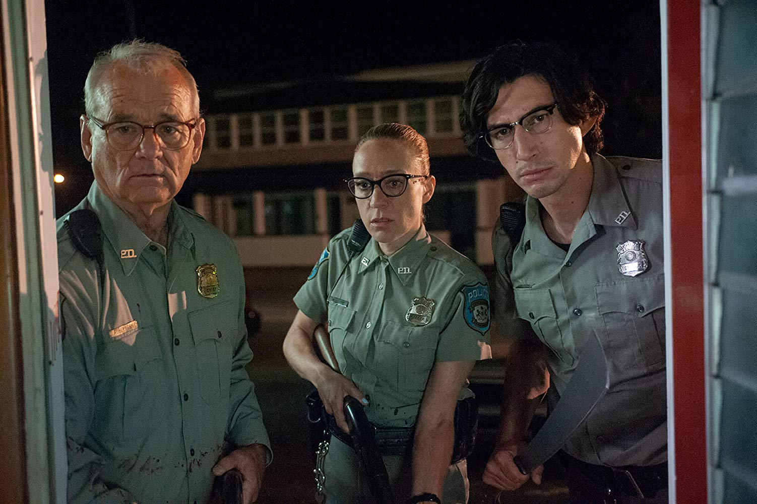 (l to r) Sheriff Bill Murray and deputies Chloe Sevigny and Adam Driver in The Dead Don't Die (2019)