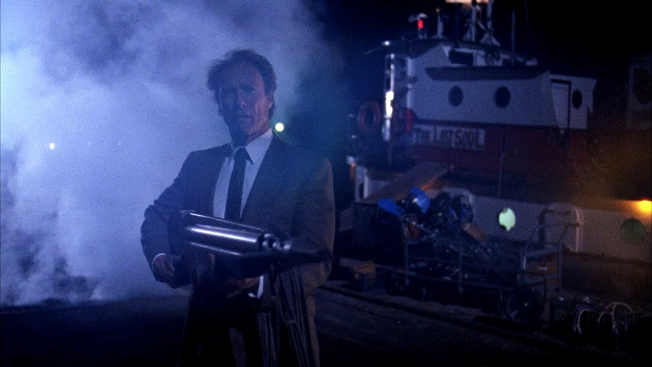 Clint Eastwood back in his fifth outing as Dirty Harry goes all Rambo in The Dead Pool (1988)