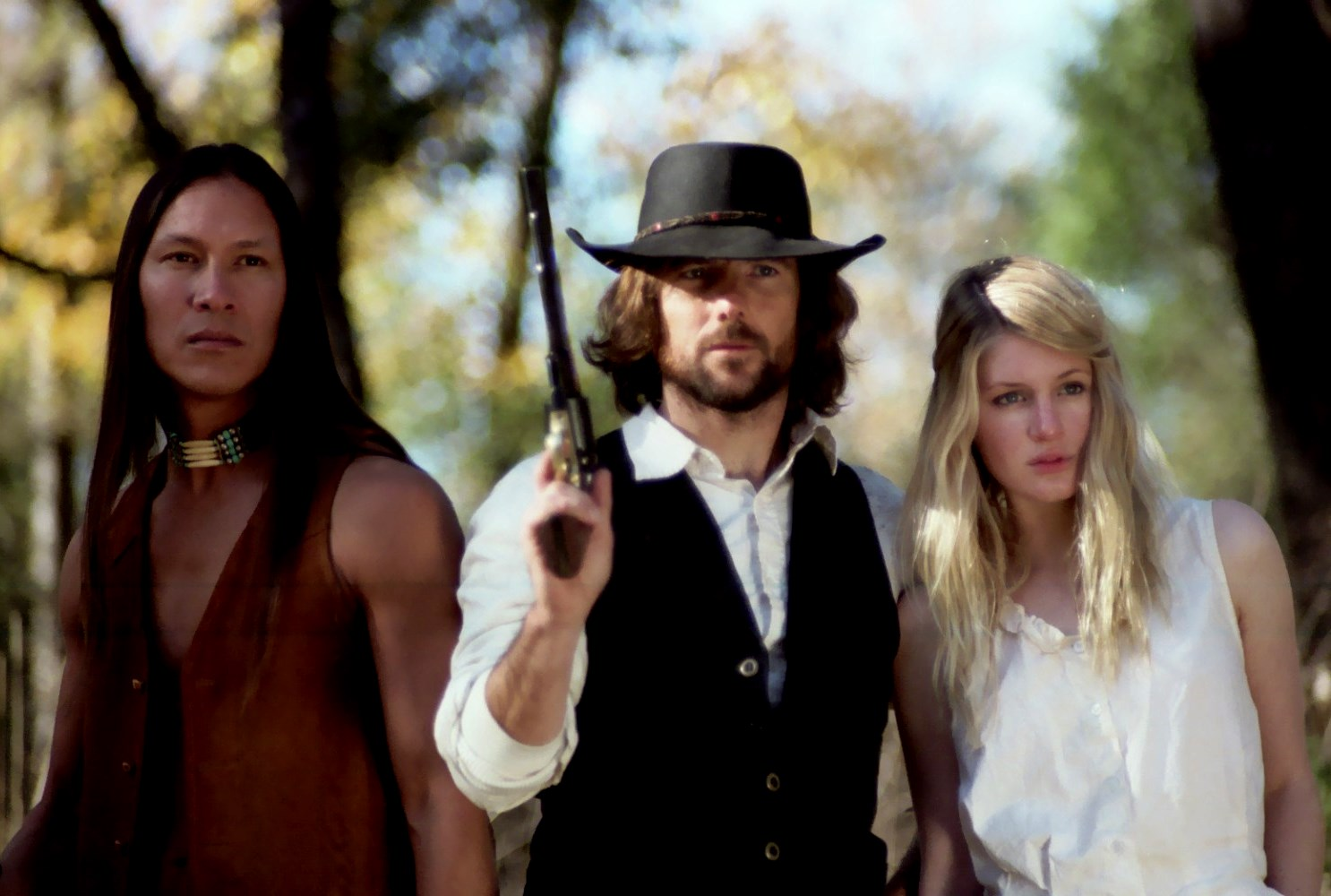 Brother Wolf (Rick Mora), Mortimer (David Lockhart) and Rhianna (Camille Montgomery) in The Dead and the Damned (2010)