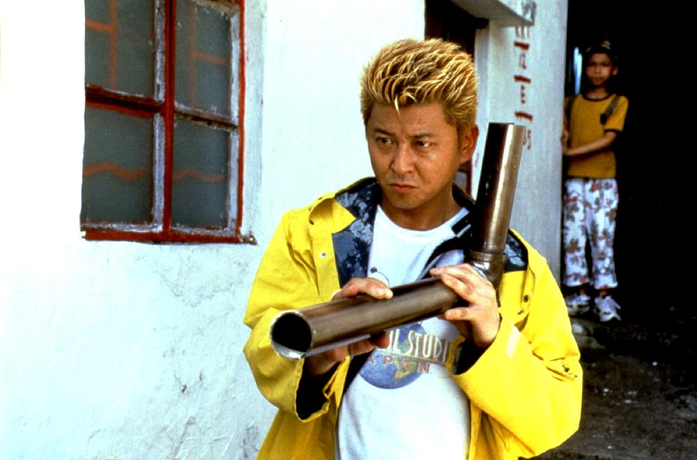 Sho Aikawa catches a bullet with a bent pipe in Dead or Alive: Final (2002)