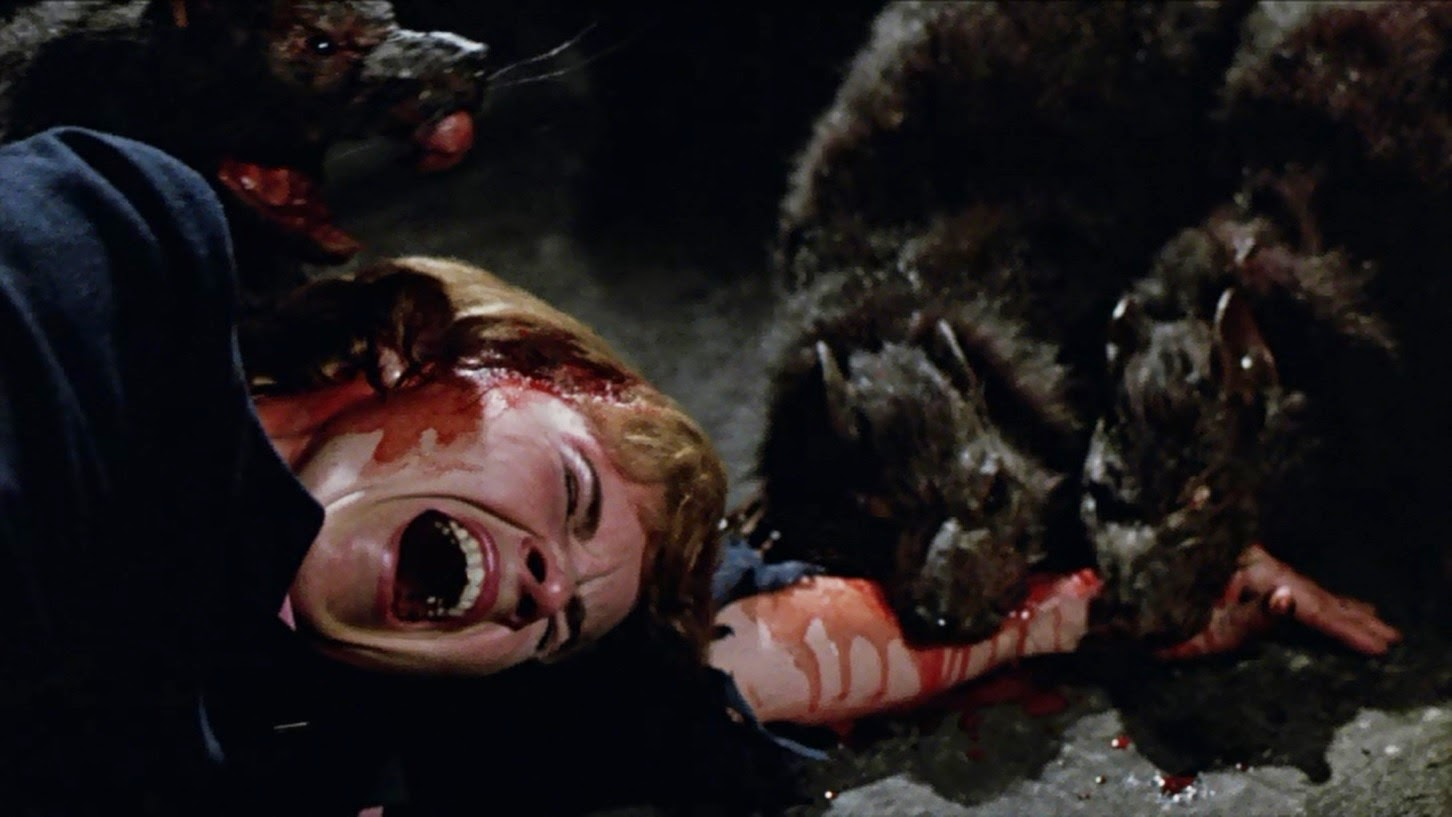 The killer rats devour a victim in Deadly Eyes (1982)