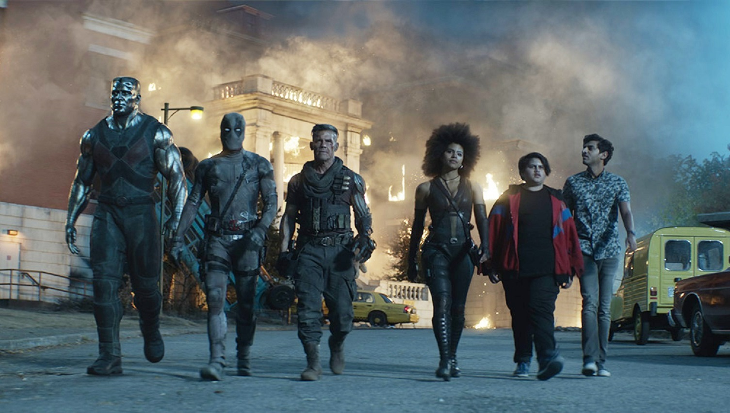 Colossus, Deadpool (Ryan Reynolds), Cable (James Brolin), Domino (Zazie Beetz), Firefist (Julian Dennison), Dopinder (Karan Soni) in Deadpool 2 (2018)