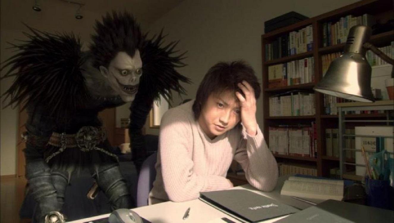 Light Yagami (Tatsuya Fujiwara) and the death god Ryuk in Death Note (2006)