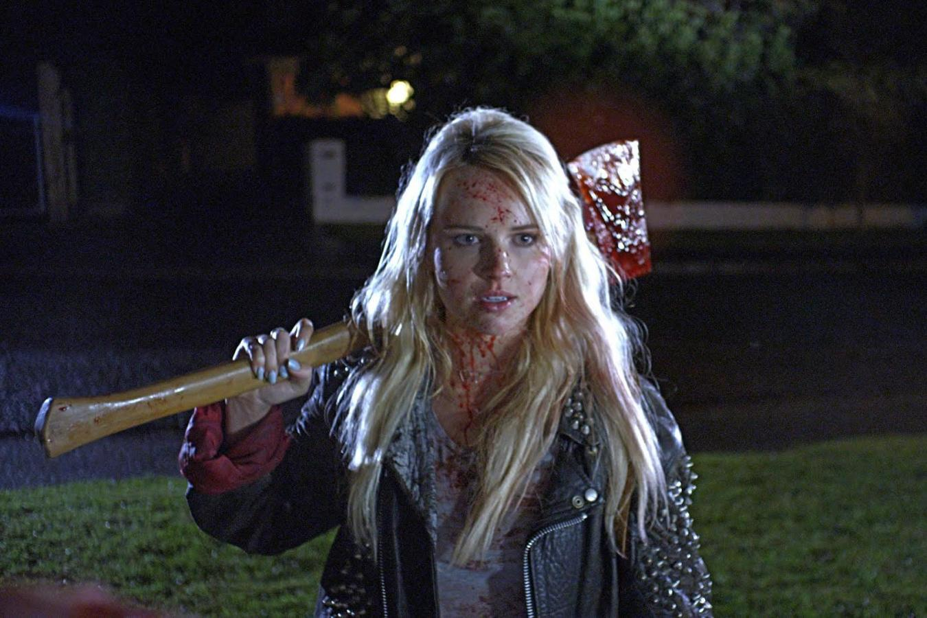 Kimberly Crossman wades in to fight demons in Deathgasm (2015)