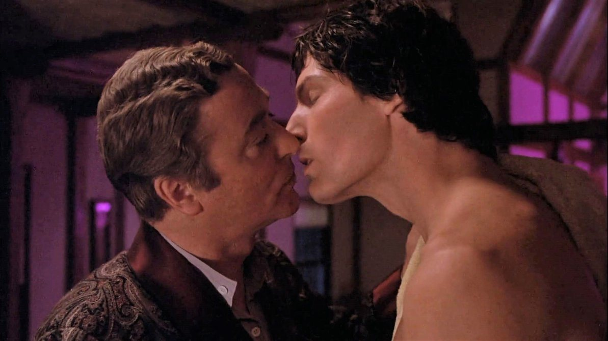 The gay kiss between Michael Caine and Christopher Reeve in Deathtrap (1982)